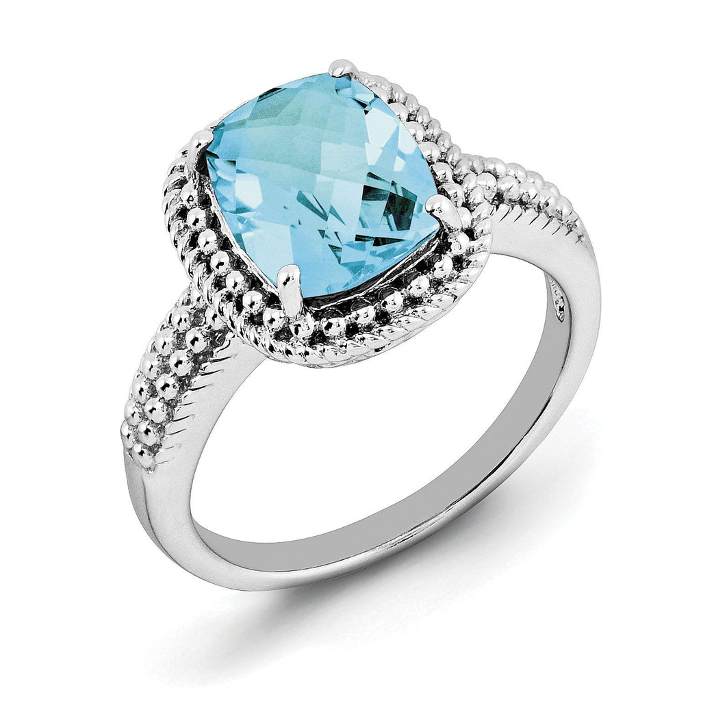 Sterling Silver Rhodium Checker-Cut Blue Topaz Ring