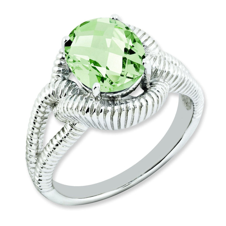 Sterling Silver Oval Checker-Cut Green Quartz Ring - shirin-diamonds