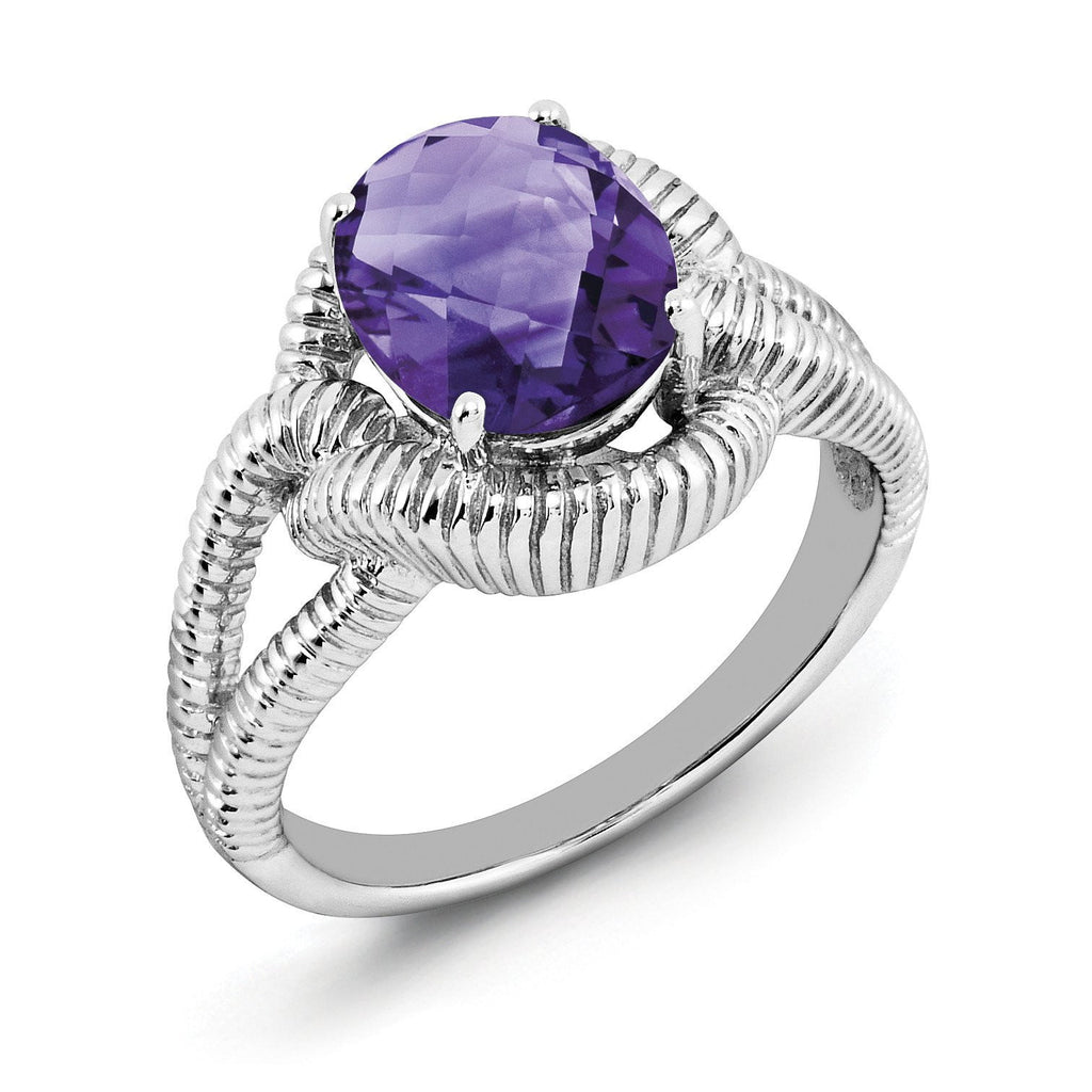 Sterling Silver Rhodium-plated Oval Checker-Cut Amethyst Ring - shirin-diamonds