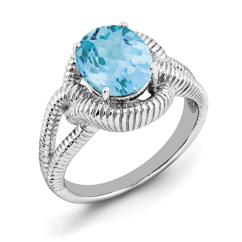 Sterling Silver Rhodium Oval Checker-Cut Blue Topaz Ring - shirin-diamonds