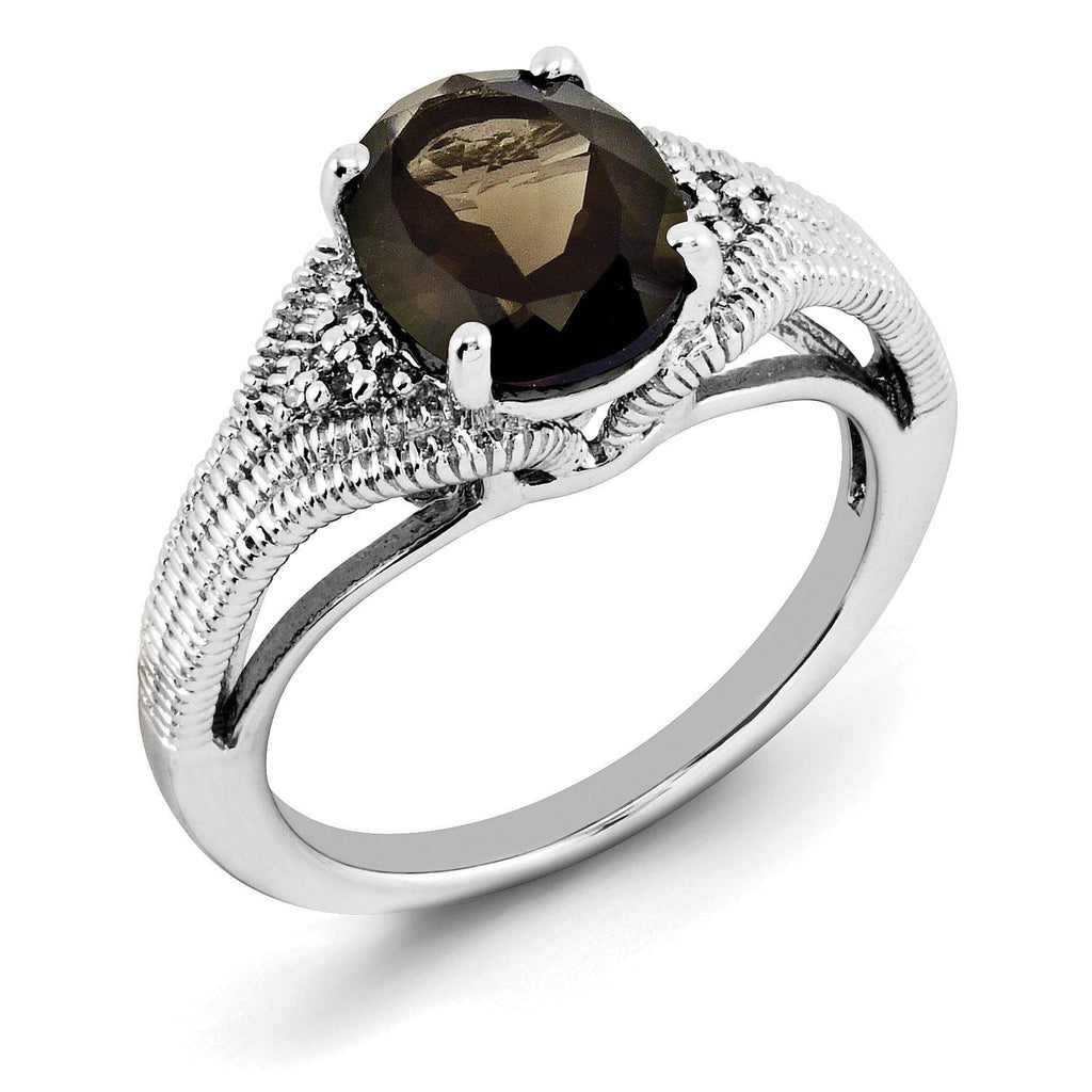 Sterling Silver Rhodium Oval Smoky Quartz & Diam. Ring - shirin-diamonds