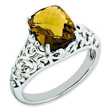 Sterling Silver Checker-Cut Whiskey Quartz Ring - shirin-diamonds