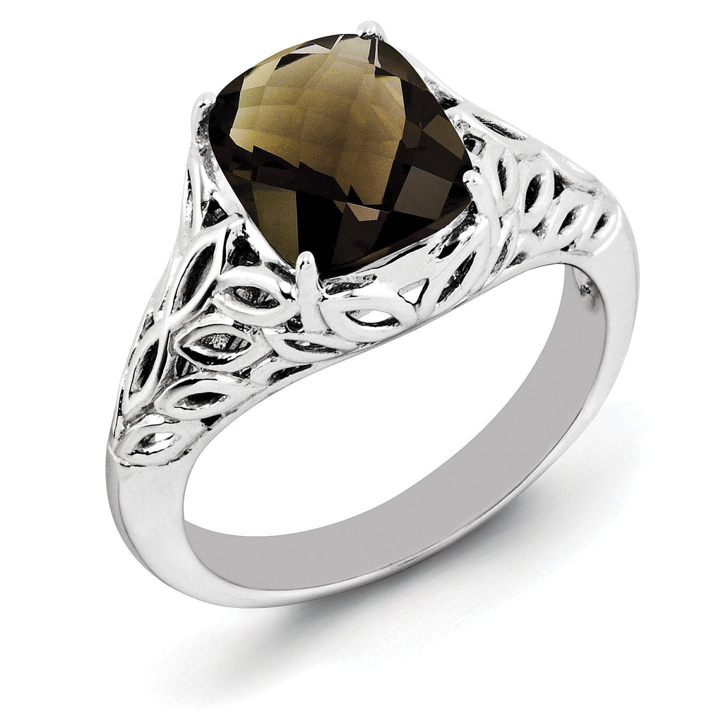 Sterling Silver Rhodium Checker-Cut Smoky Quartz Ring - shirin-diamonds