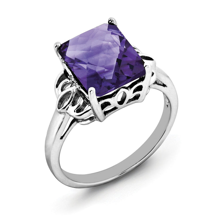 Sterling Silver Rhodium-plated Octagonal Checker-Cut Amethyst Ring - shirin-diamonds