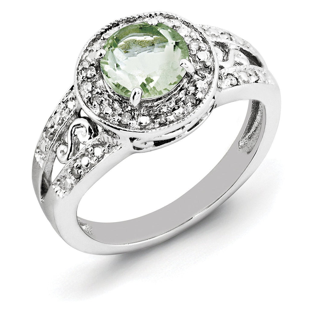 Sterling Silver Rhodium Green Quartz & Diam. Ring