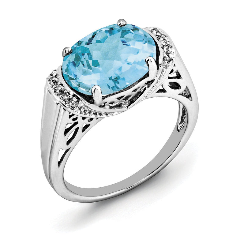 Sterling Silver Rhodium Checker-Cut Light Swiss Blue Topaz & Diam. Ring - shirin-diamonds