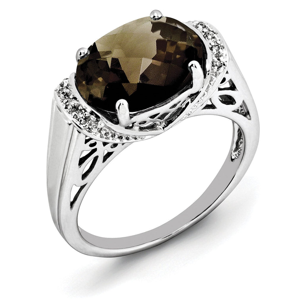 Sterling Silver Rhodium Checker-Cut Smoky Quartz & Diam. Ring - shirin-diamonds