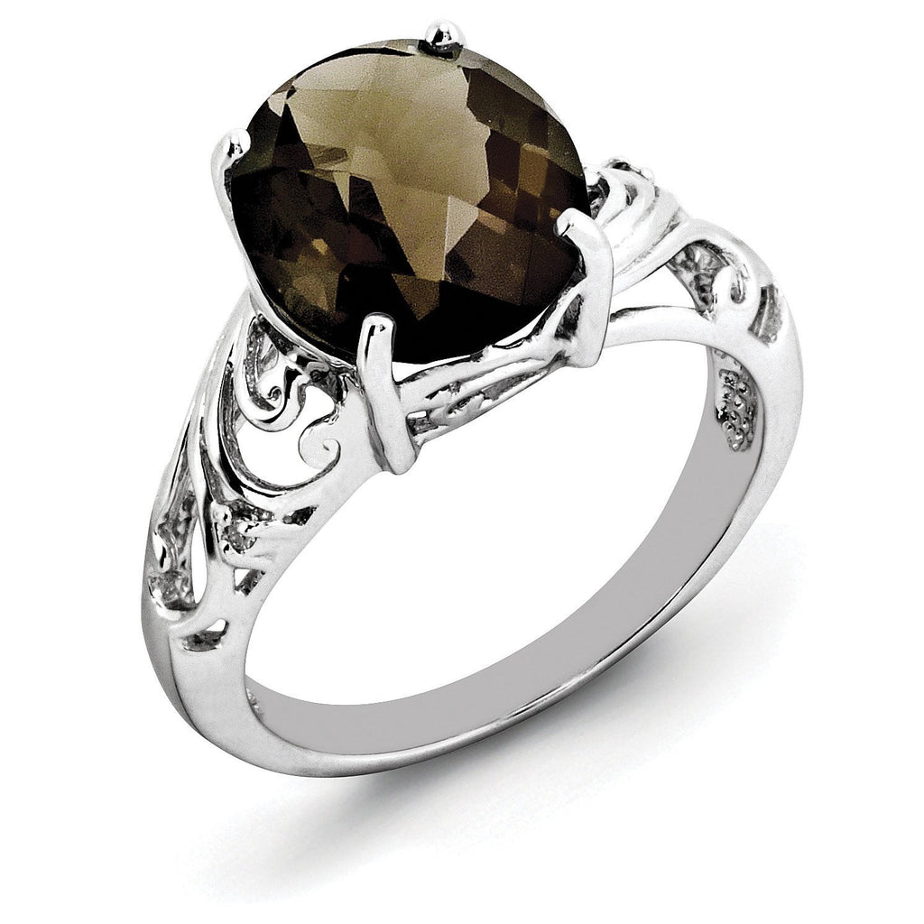 Sterling Silver Rhodium Checker-Cut Smoky Quartz & Diam. Ring