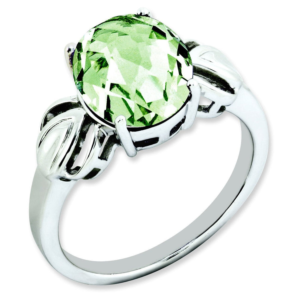 Sterling Silver Checker-Cut Green Quartz Ring