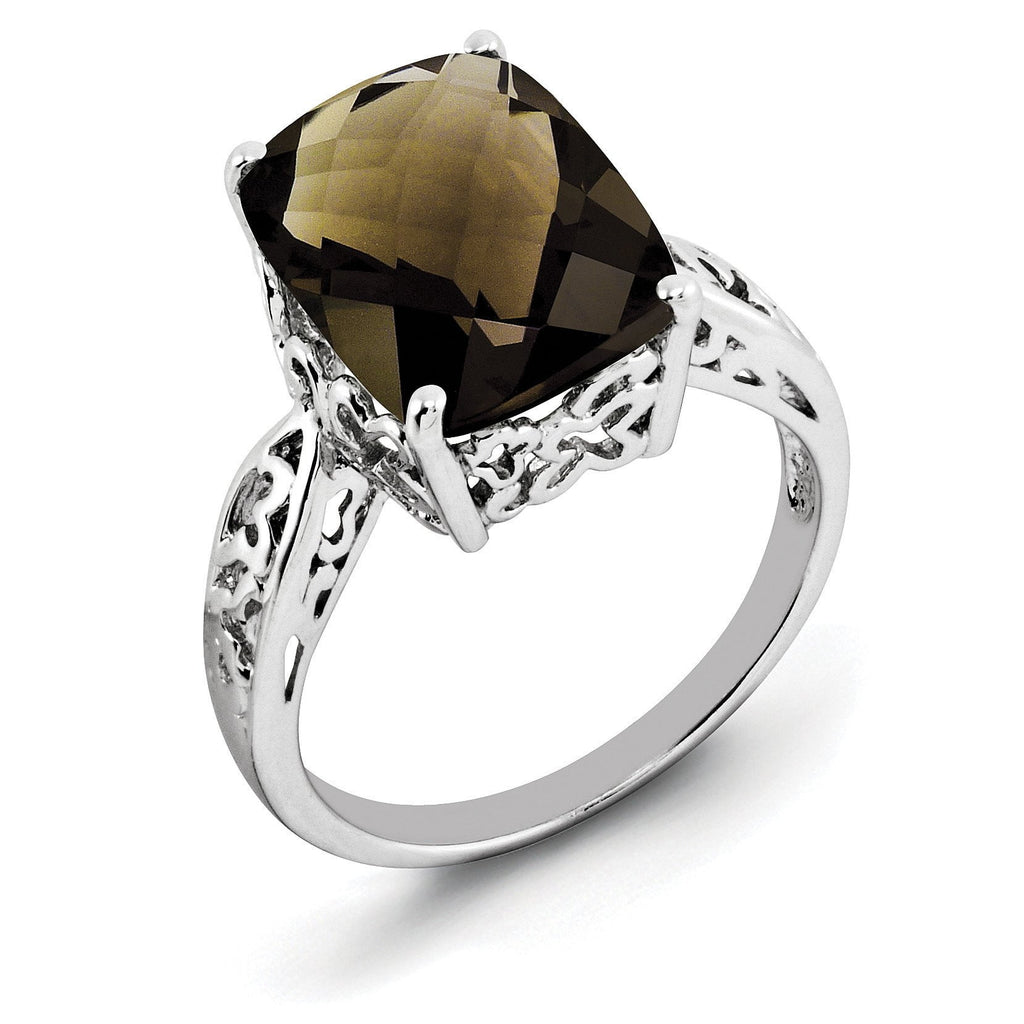 Sterling Silver Rhodium Checker-Cut Smoky Quartz Ring