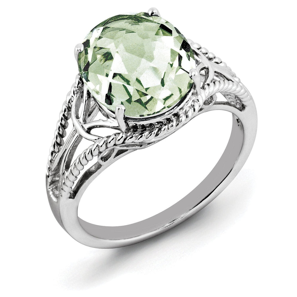 Sterling Silver Rhodium Oval Checker-Cut Green Quartz Ring - shirin-diamonds