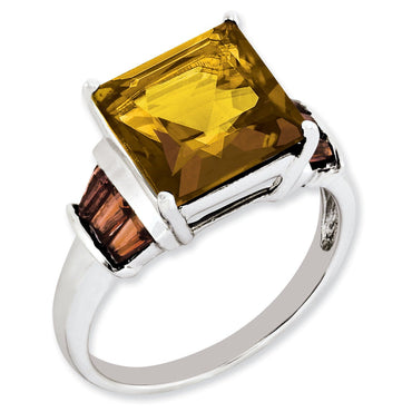 Sterling Silver Whiskey Quartz & Tabber Garnet Ring - shirin-diamonds