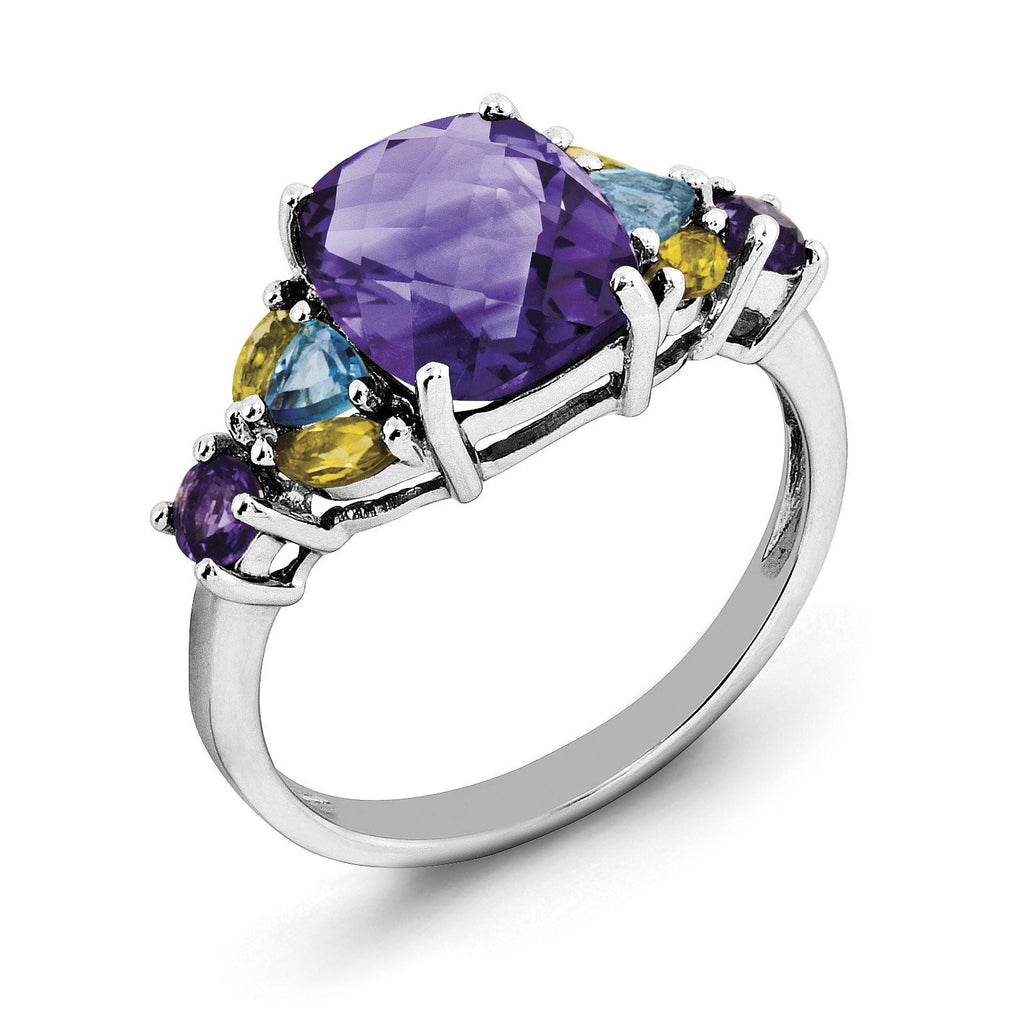 Sterling Silver Rhodium-plated Amethyst, Blue Topaz & Citrine Ring - shirin-diamonds