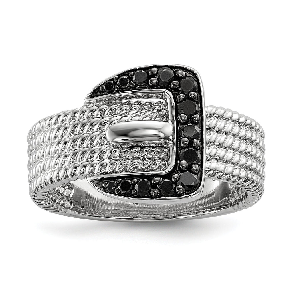 Sterling Silver Black Diamond Buckle Ring - shirin-diamonds