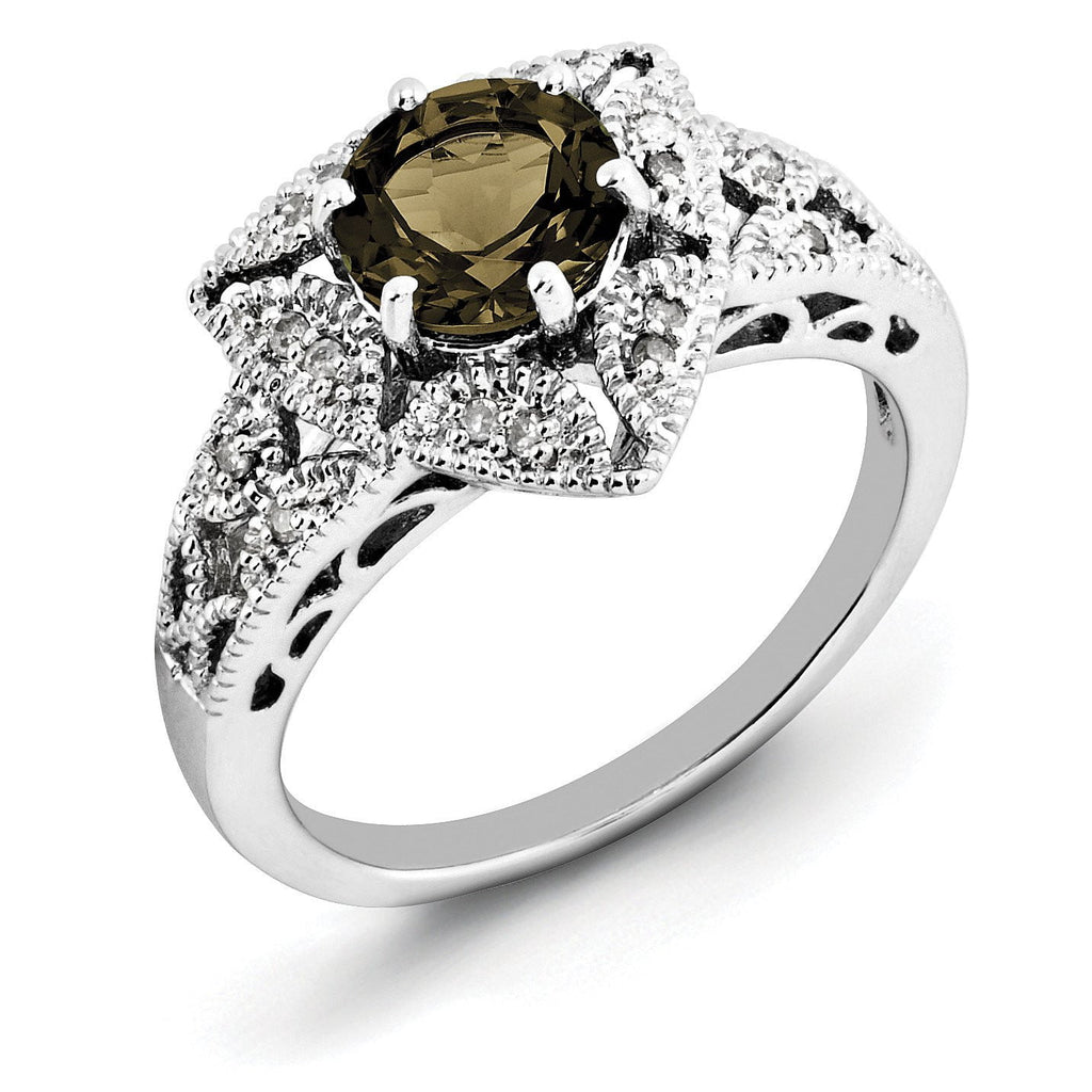 Sterling Silver Rhodium Smoky Quartz & Diam. Ring
