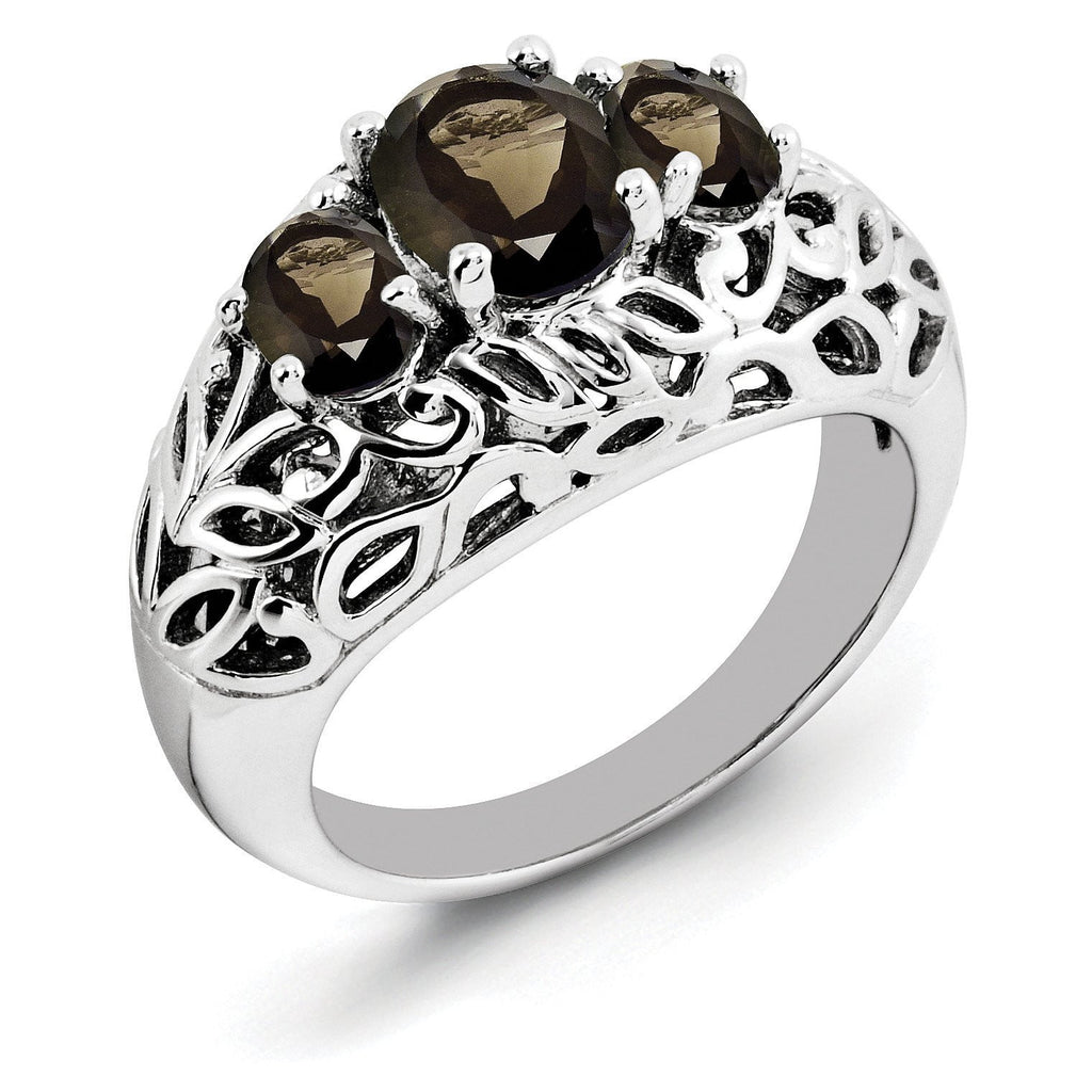 Sterling Silver Rhodium Oval Smoky Quartz Ring - shirin-diamonds