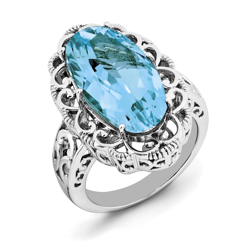 Sterling Silver Rhodium Oval Blue Topaz Ring - shirin-diamonds
