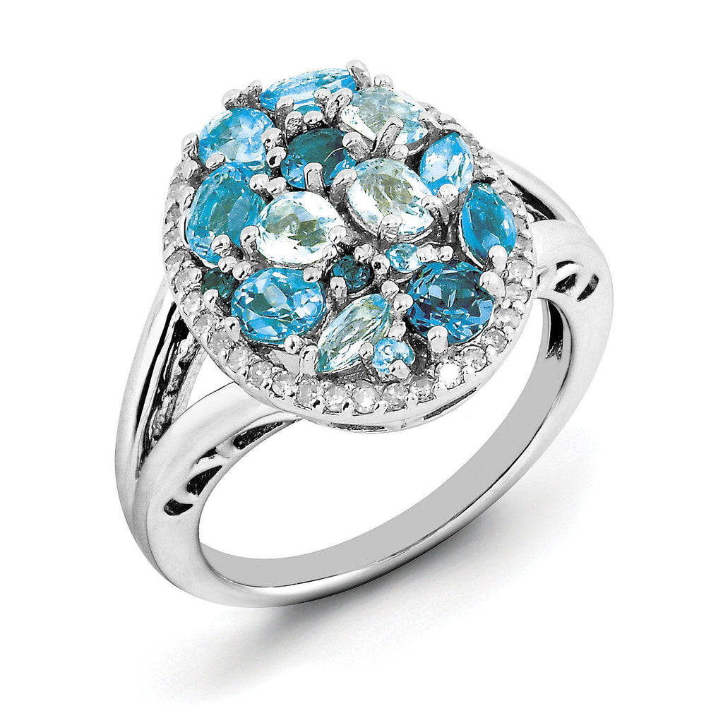 Sterling Silver Rhodium Light Swiss Blue Topaz & Diam. Ring - shirin-diamonds