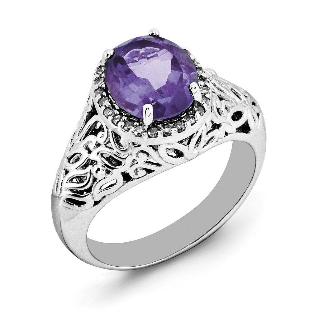 Sterling Silver Rhodium-plated Oval Amethyst & Diamond Ring - shirin-diamonds