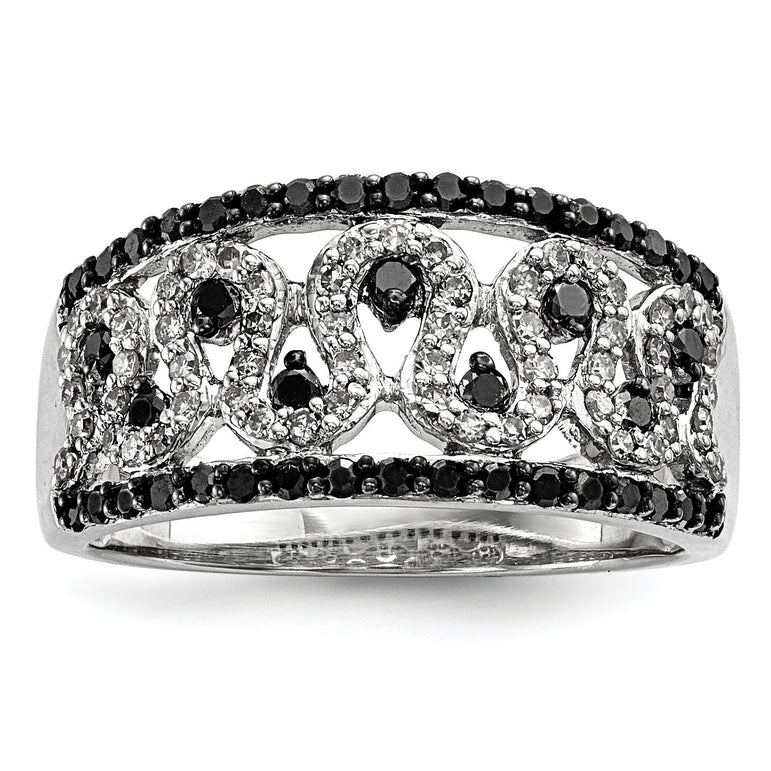 Sterling Silver Black and White Diamond Cigar Band - shirin-diamonds