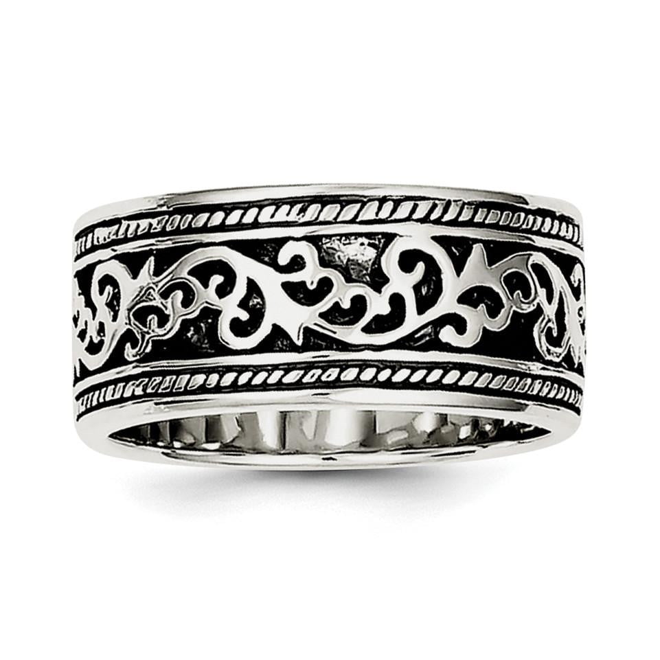 Sterling Silver Antiqued Band - shirin-diamonds