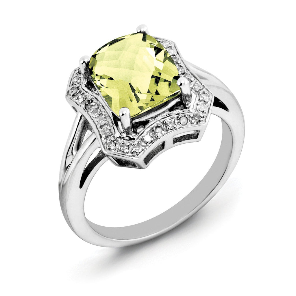 Sterling Silver Rhodium Checker-Cut Lemon Quartz & Diam. Ring
