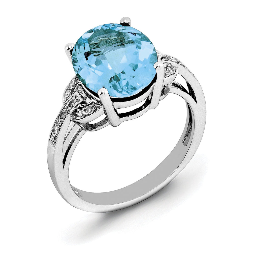Sterling Silver Rhodium Light Swiss Blue Topaz & Diam. Ring