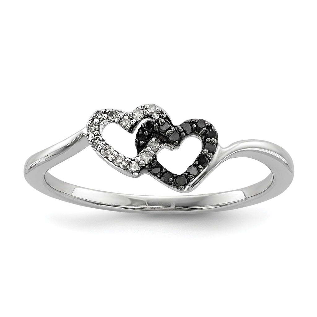 Sterling Silver Black & White Diamond Heart Ring - shirin-diamonds