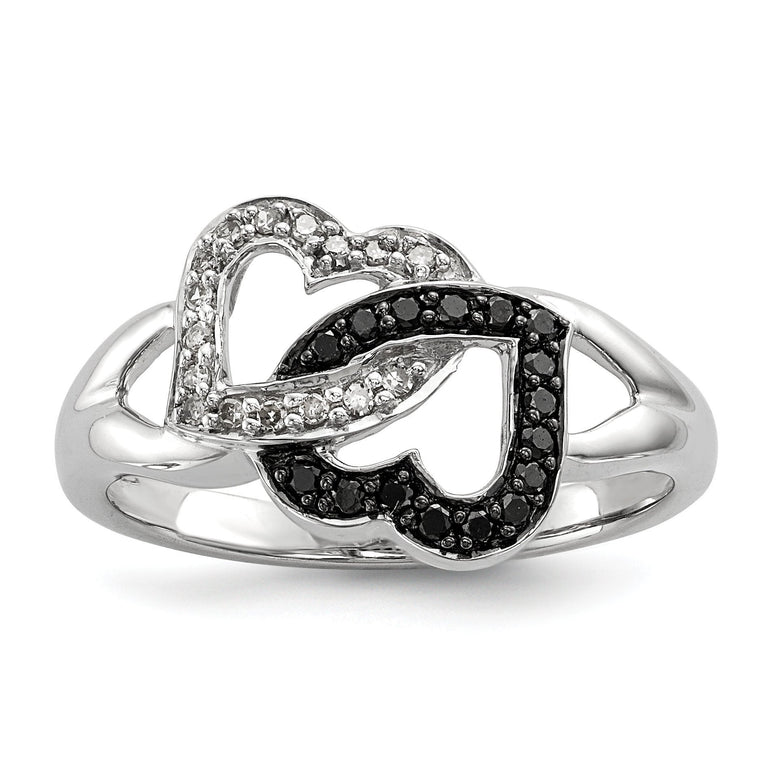 Sterling Silver Black & White Diamond Ring - shirin-diamonds