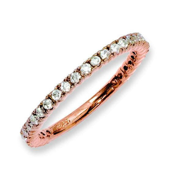 Sterling Silver Rose Gold-plated 28 Stone CZ Ring - shirin-diamonds