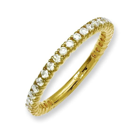 Sterling Silver Yellow-plated 28 Stone CZ Ring - shirin-diamonds