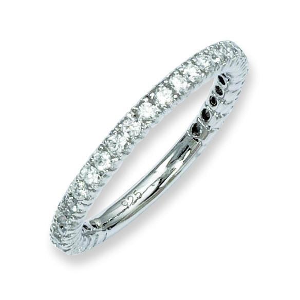 Sterling Silver Rhodium-plated 28 Stone CZ Ring - shirin-diamonds