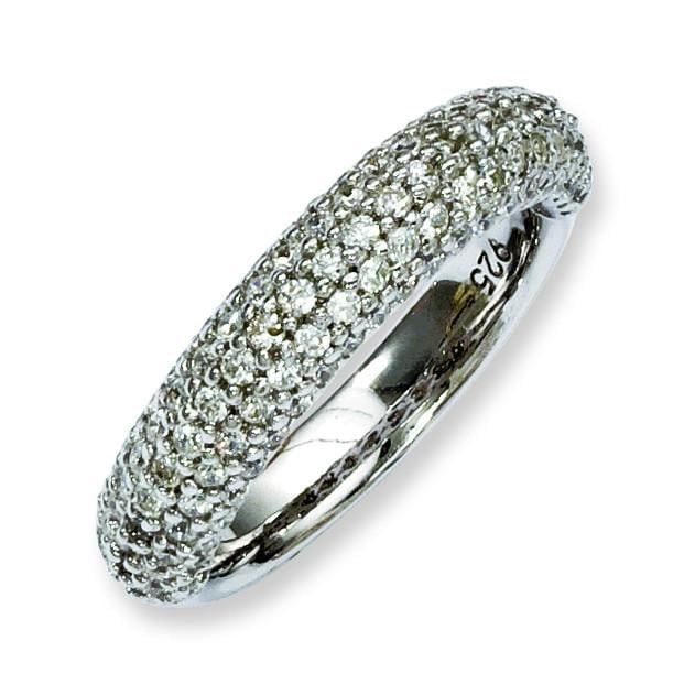 Sterling Silver Pav' Rhodium-plated 113 Stone CZ Ring - shirin-diamonds