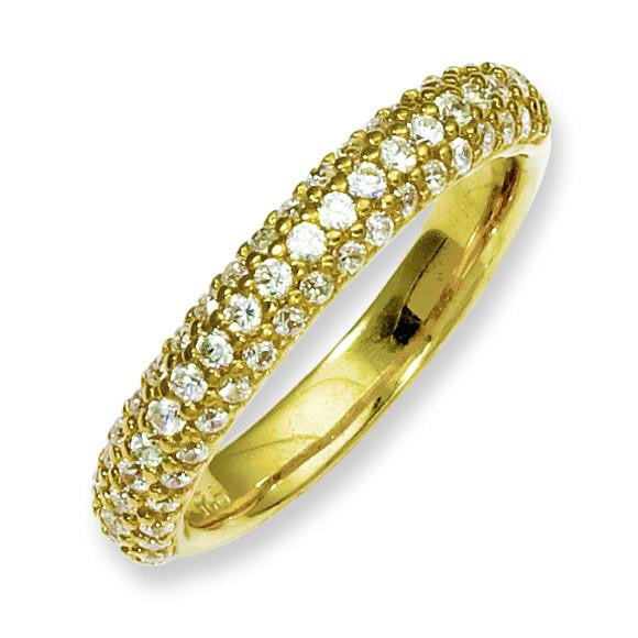 Sterling Silver Pav' Yellow-plated 61 Stone CZ Ring - shirin-diamonds