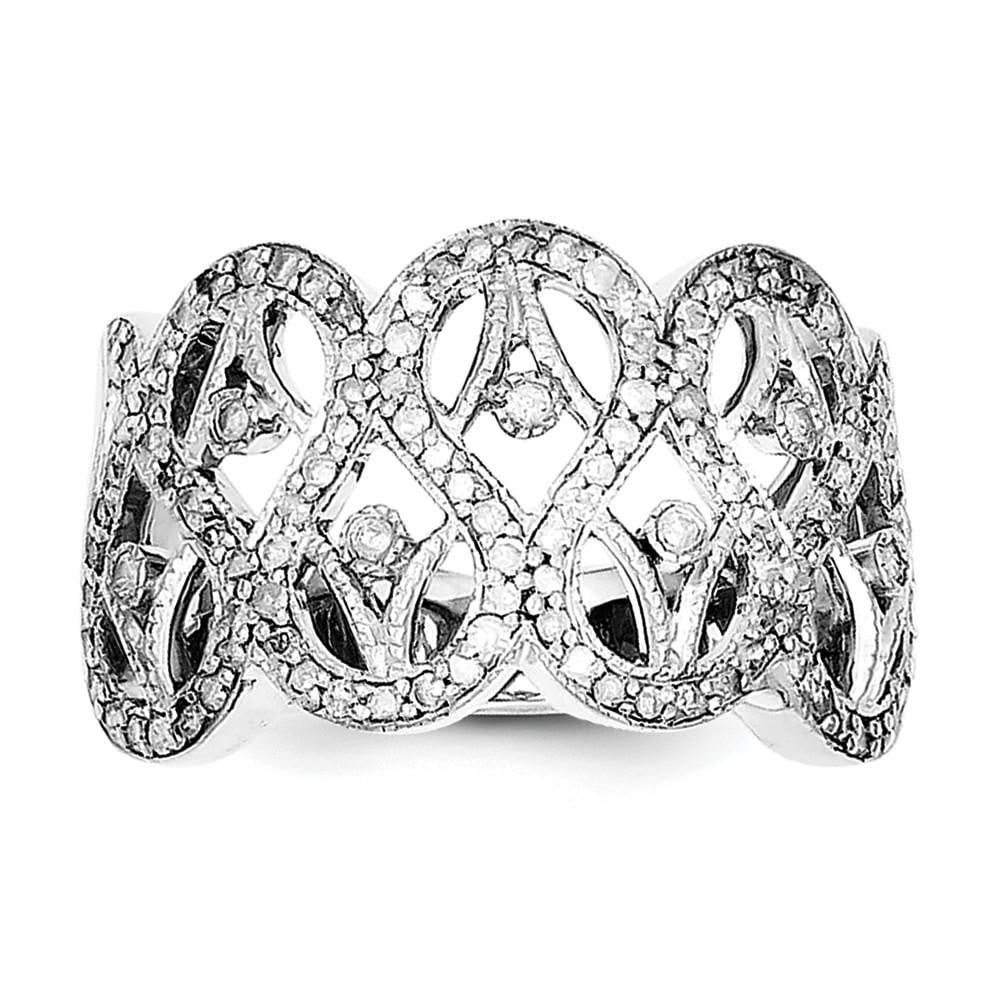 Sterling Silver Rhodium Diam. Ring - shirin-diamonds