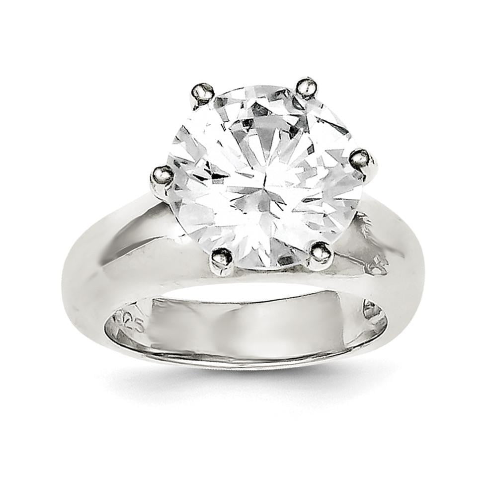 Sterling Silver Solitaire Round CZ Ring - shirin-diamonds