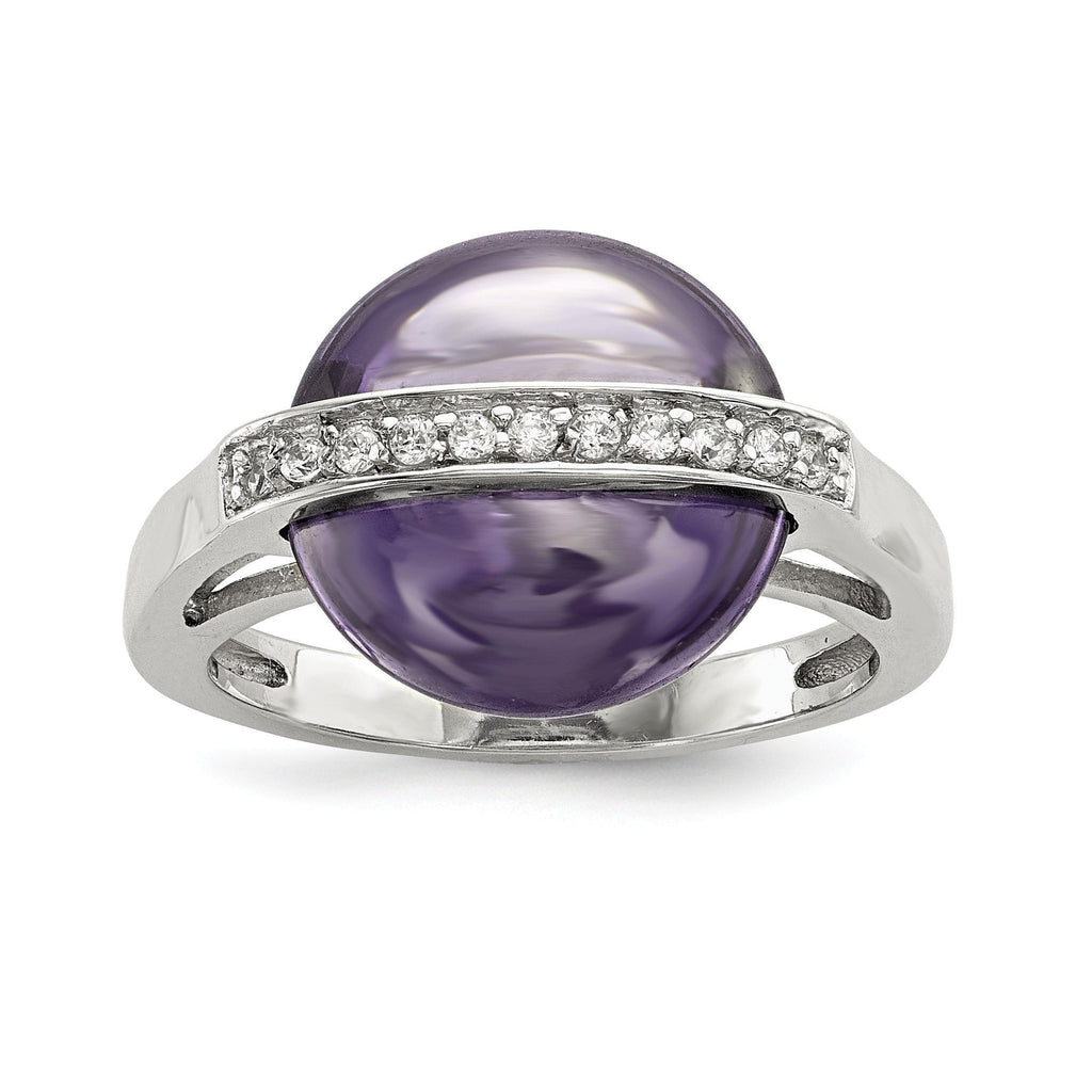 Sterling Silver Amethyst & CZ Ring - shirin-diamonds