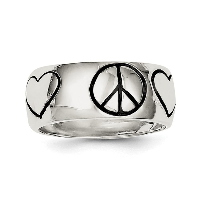 Sterling Silver Polished Antiqued Finish Peace Sign with Heart Ring - shirin-diamonds
