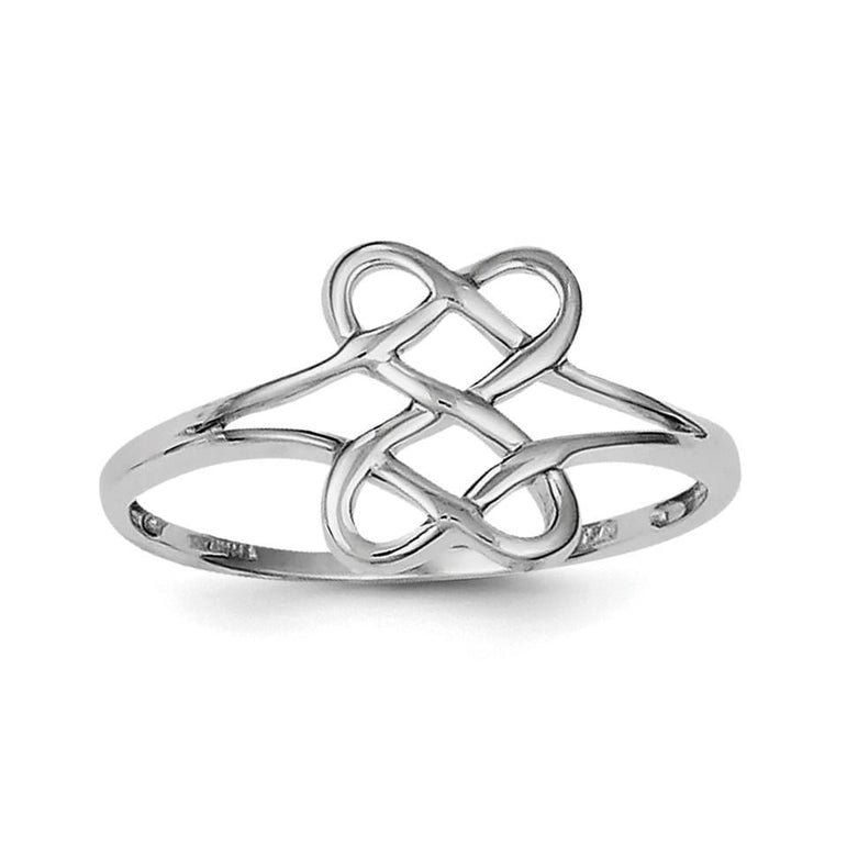 Sterling Silver Rhodium Plated Two Sided Heart Ring - shirin-diamonds