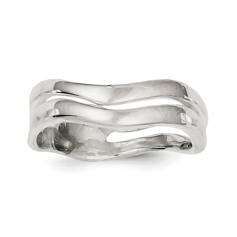 Sterling Silver Wave Band Ring - shirin-diamonds