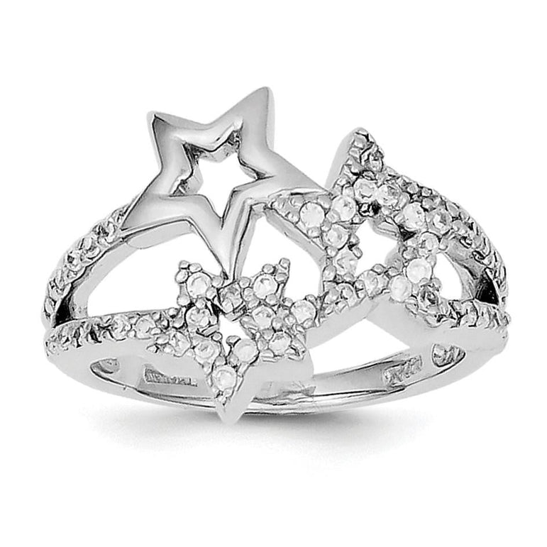Sterling Silver Rhodium Plated CZ Triple Star Ring - shirin-diamonds