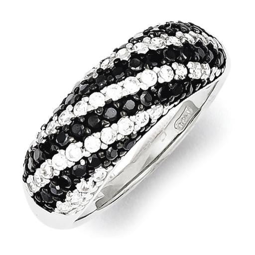 Sterling Silver Rhodium Plated Black/White CZ Ring - shirin-diamonds