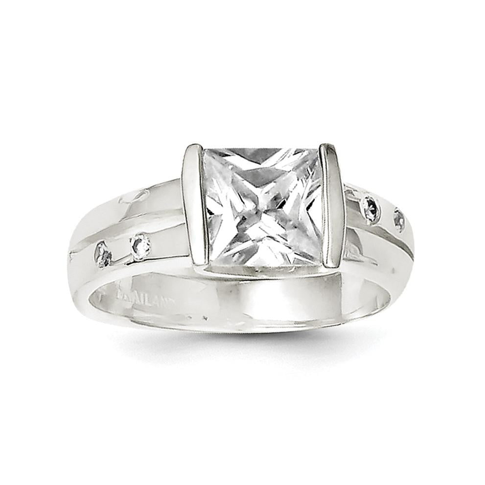 Sterling Silver Square CZ Ring - shirin-diamonds