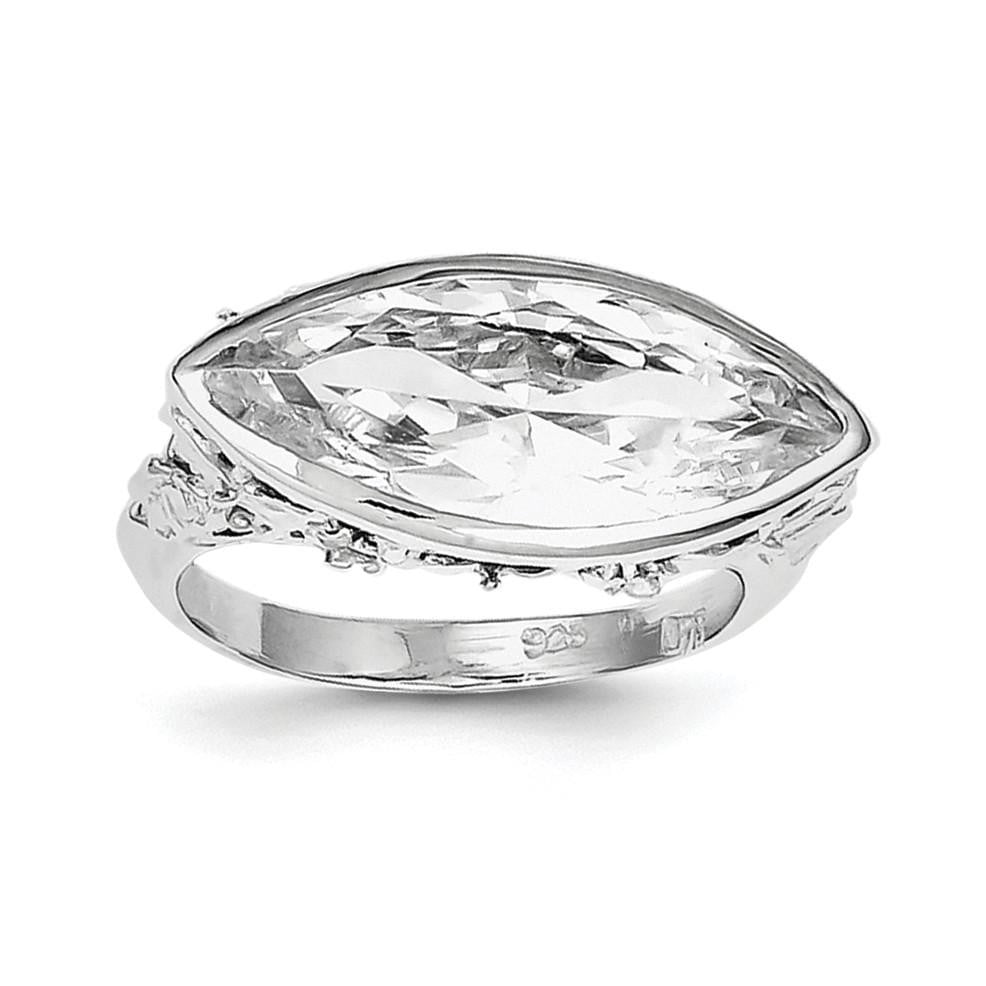 Sterling Silver Rhodium Plated CZ Marquise Ring - shirin-diamonds