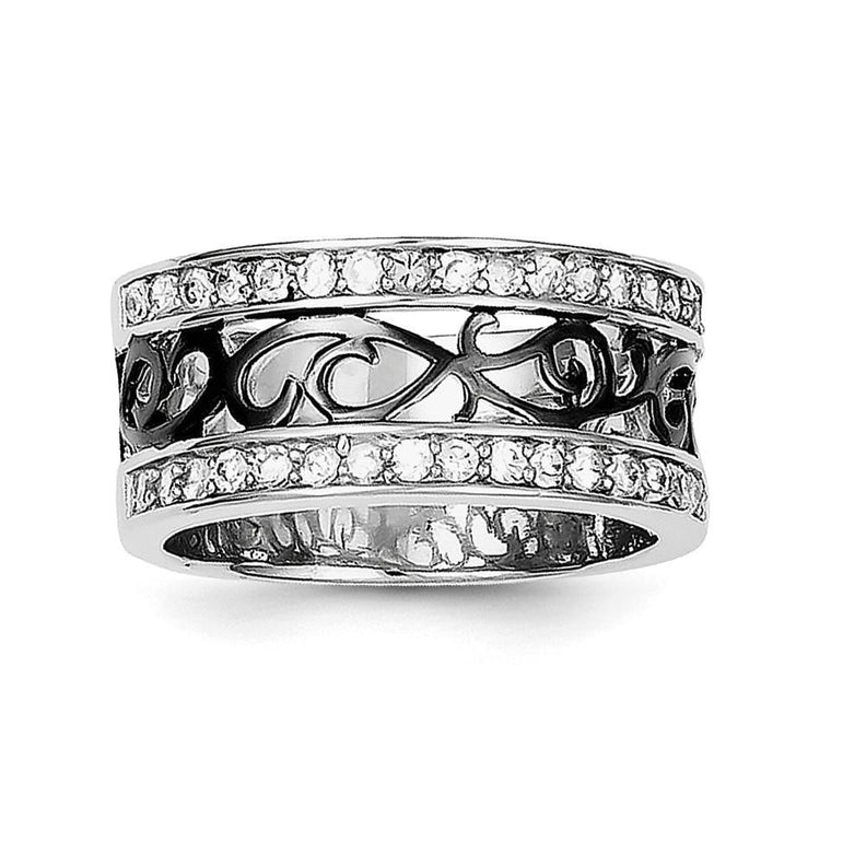 Sterling Silver CZ Black Filigree Design Ring - shirin-diamonds
