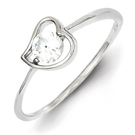 Sterling Silver Rhodium Plated CZ Heart Ring - shirin-diamonds