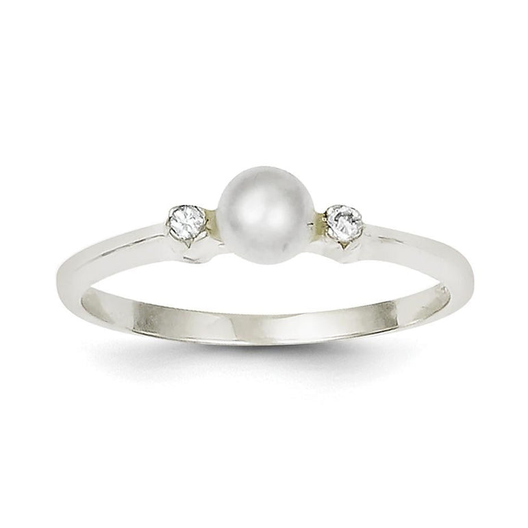 Sterling Silver CZ FW Cultured Pearl Ring - shirin-diamonds
