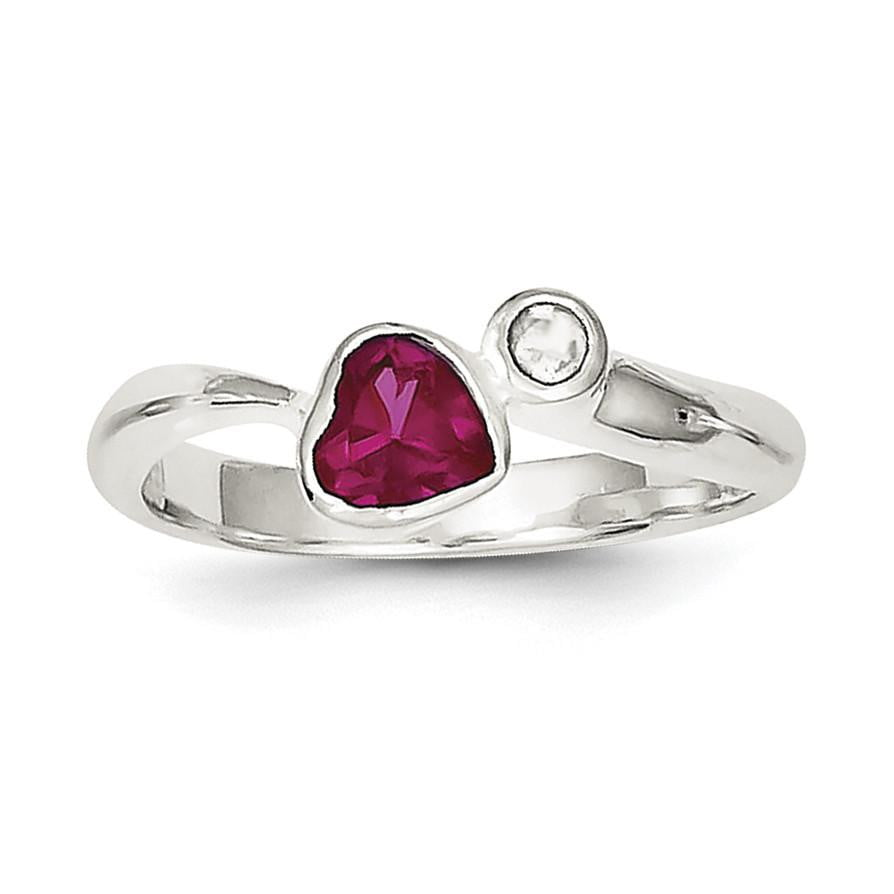 Sterling Silver Red CZ Heart Ring - shirin-diamonds