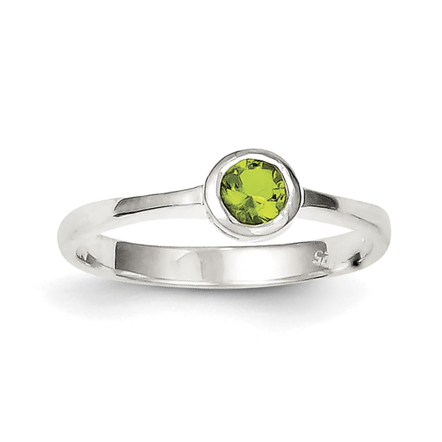 Sterling Silver Lime Green Round Bezel CZ Ring - shirin-diamonds