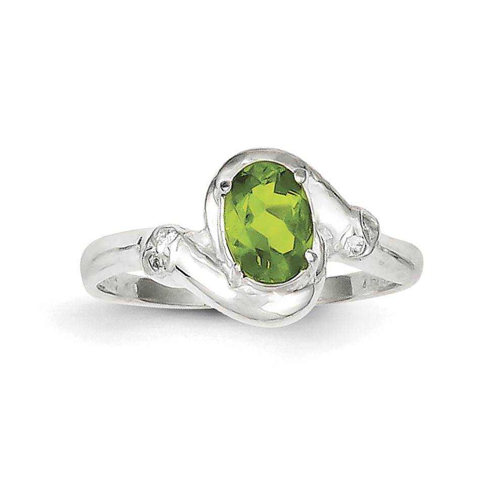Sterling Silver Lime Green Oval CZ Ring - shirin-diamonds